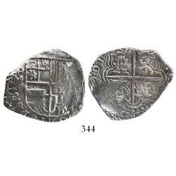 Potosi, Bolivia, cob 4 reales, Philip III, (1617)M, Grade 1.
