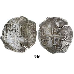"Potosi, Bolivia, cob 4 reales, Philip III, assayer T, denomination as ""o-4"" with backwards 4 (1618),"