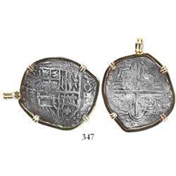 Potosi, Bolivia, cob 4 reales, Philip III, assayer T, Grade 1, mounted in 14K pendant-bezel.