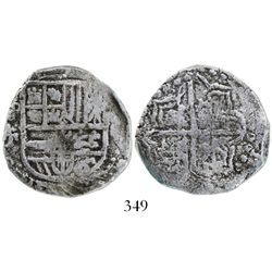 Potosi, Bolivia, cob 4 reales, Philip III, assayer T, Grade-1 quality, with original tag but certifi