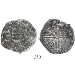 Potosi, Bolivia, cob 4 reales, Philip III, assayer T, quadrants of cross transposed, Grade 2, with o