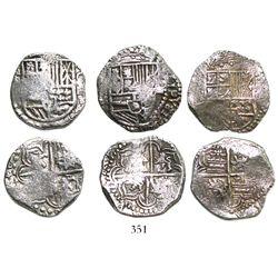 Lot of 3 Potosi, Bolivia, cob 4 reales, Philip III, assayers not visible, all Grade 1.