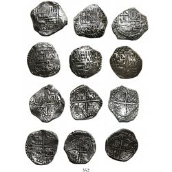 Lot of 6 Potosi, Bolivia, cob 4 reales, Philip III, various assayers (where visible), all Grade 1.