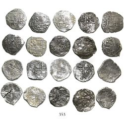 Lot of 10 Potosi, Bolivia, cob 4 reales, Philip III, assayers Q, M and T (all visible), all Grade 1.
