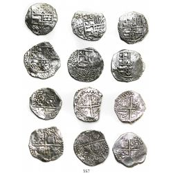 Lot of 6 Potosi, Bolivia, cob 4 reales, Philip III, various assayers (where visible), all Grade-1 qu