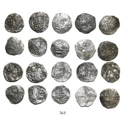 Lot of 10 Potosi, Bolivia, cob 4 reales, Philip III, various assayers (where visible), all Grade 2.