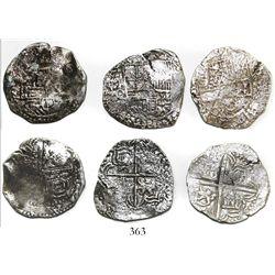 Lot of 3 Potosi, Bolivia, cob 4 reales, Philip III, all assayer Q, all Grade-2 quality but no Grades