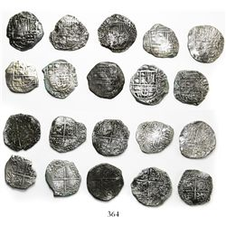 Lot of 10 Potosi, Bolivia, cob 4 reales, Philip III, assayers not visible, all Grade-2 quality but n