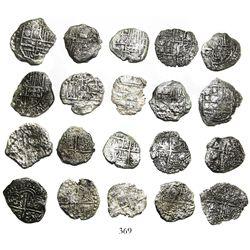 Lot of 10 Potosi, Bolivia, cob 4 reales, Philip III, assayers not visible, all Grade 3.