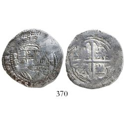 """Potosi, Bolivia, cob 2 reales, Philip II, assayer B (1st period, """"Lima style""""), Grade 1."""