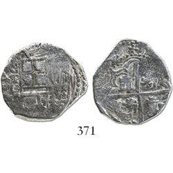 Potosi, Bolivia, cob 2 reales, Philip III, assayer Q, Grade 1.