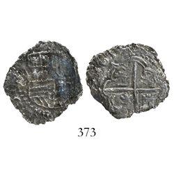 Potosi, Bolivia, cob 2 reales, 1617M, Grade 2, rare.