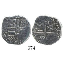 Potosi, Bolivia, cob 2 reales, (1618)PAL, Grade 1, rare.