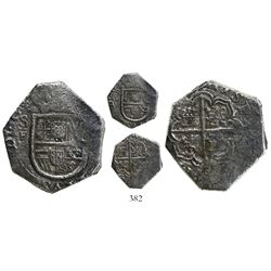 Cartagena, Colombia, cob 2 reales, (1622), no assayer, mintmark SF to left, Grade 1, very rare.