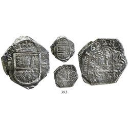 Cartagena, Colombia, cob 2 reales, 1622, no assayer, mintmark SF to left, Grade 1, very rare.