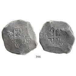 Mexico City, Mexico, cob 8 reales, (16)34, assayer D or P, rare.