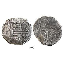 Mexico City, Mexico, cob 8 reales, Philip IV, assayer not visible (1630s).