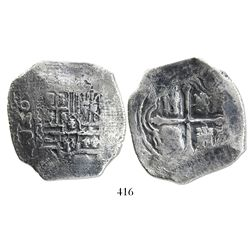 Mexico City, Mexico, cob 8 reales, Philip IV, assayer P, with canvas imprint on shield side.