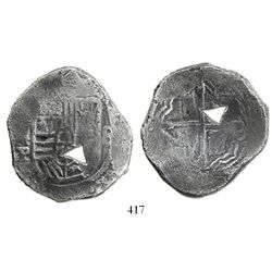 Mexico City, Mexico, cob 8 reales, Philip IV, assayer P, with natural triangular bubble-hole.
