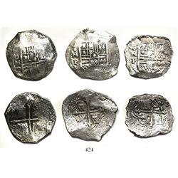 Lot of 3 Mexico City, Mexico, cob 8 reales, Philip IV, assayer P.