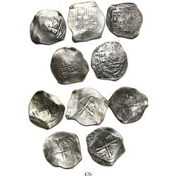 Lot of 5 Mexico City, Mexico, cob 8 reales, Philip IV, assayer not visible (P).