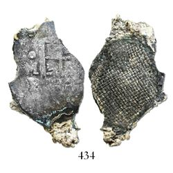 Mexico City, Mexico, cob 4 reales, Philip IV, assayer P, with canvas-bag remains on shield.
