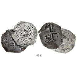 Lot of 2 Mexico City, Mexico, cob 4 reales Philip IV, assayer P.