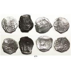 Lot of 4 Mexico City, Mexico, cob 4 reales, Philip IV, assayer P.