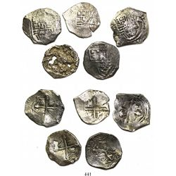 Lot of 5 Mexico City, Mexico, cob 4 reales, Philip IV, assayer P (where visible).