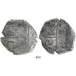 Potosi, Bolivia, cob 8 reales, Philip IV, assayer T (1620s), quadrants of cross transposed.