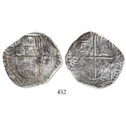 Potosi, Bolivia, cob 8 reales, Philip IV, assayer T(?) (1620s), quadrants of cross transposed.