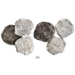 Lot of 3 Potosi, Bolivia, cob 4 reales, Philip IV, assayers not visible.
