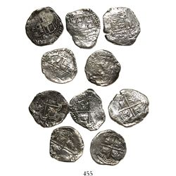 Lot of 5 Potosi, Bolivia, cob 2 reales, Philip IV, assayers T and TR where visible.