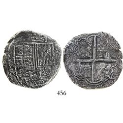 Bogota, Colombia, cob 8 reales, (16)32A, quadrants of cross transposed, very rare, ex-Lasser.