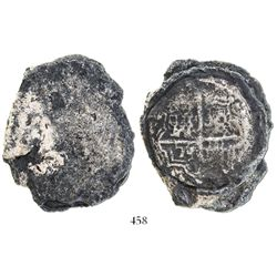 """Clump of 2 """"biscuitized"""" cob 8 reales, one clearly Potosi, Bolivia, probably Philip III."""
