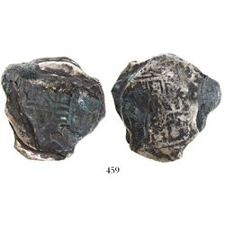 """Clump of 2 """"biscuitized"""" cob 8 reales, one clearly Mexico City, Mexico, probably Philip IV."""