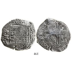 Potosi, Bolivia, cob 8 reales, 1649Z, with crowned-(?) countermark on cross.