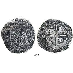 Potosi, Bolivia, cob 8 reales, 16(4)9Z, with crown-alone countermark (common) on shield.