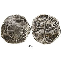 Potosi, Bolivia, cob 8 reales, (1)649Z, with crowned-L countermark on cross.