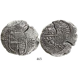 Potosi, Bolivia, cob 8 reales, (1649)Z, with crowned-backwards-L countermark (very rare) on cross.