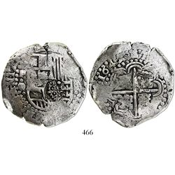 Potosi, Bolivia, cob 8 reales, 1649O/sR (rare), with crowned-dot-F-dot countermark on shield.