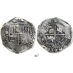 Potosi, Bolivia, cob 8 reales, (16)49O, with crowned-L countermark on cross.