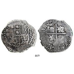 Potosi, Bolivia, cob 8 reales, 1649O, no countermark (rare).