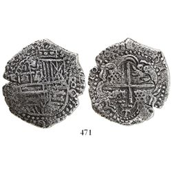 Potosi, Bolivia, cob 8 reales, 1650O, with crowned-T countermark on cross.