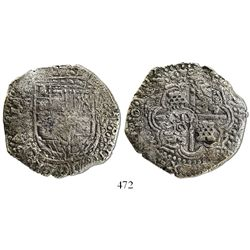 Potosi, Bolivia, cob 8 reales, 165(0)O, with crowned-S countermark on cross.