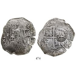 Potosi, Bolivia, cob 8 reales, (165)0O, with two countermarks (crowned-T and crowned-L) on cross, ve