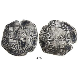 Potosi, Bolivia, cob 8 reales, 1650O, with crowned-F (2 dots) countermark on shield.