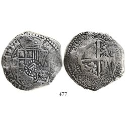 Potosi, Bolivia, cob 8 reales, 165(0)O, with crown-alone countermark on shield.