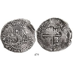 Potosi, Bolivia, cob 8 reales, 1650O, with crown-alone (rare) countermark on shield.