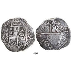 Potosi, Bolivia, cob 8 reales, (1650)O, with crowned-F (2 dots) countermark on shield.